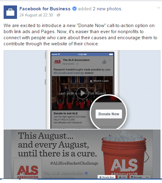 facebook Donate Now button