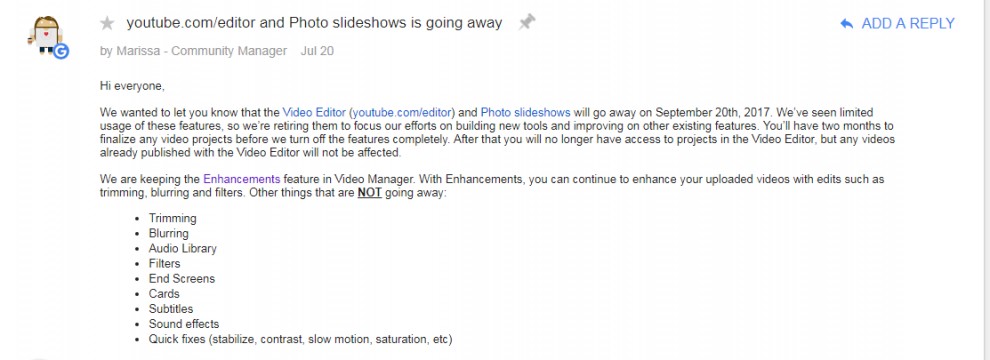 Youtube Video Editor terminated